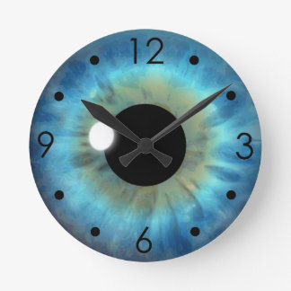 Blue Eye Iris Eyeball Custom Medium Round Clock