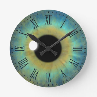 Blue Eye Iris Eyeball Medium Round Roman Clock