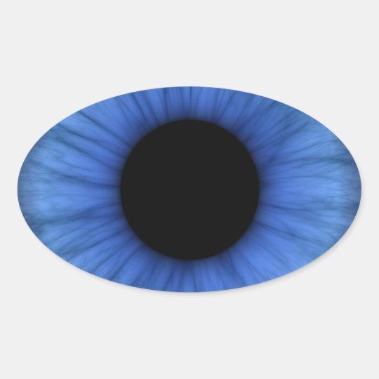 blue eye is cute oval sticker