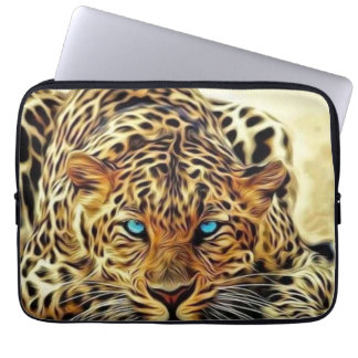 Blue Eye Leopard Laptop Computer Sleeves