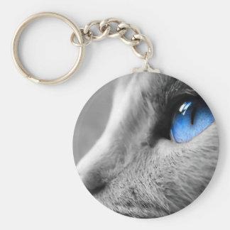 Blue eye of Siamese Basic Round Button Key Ring