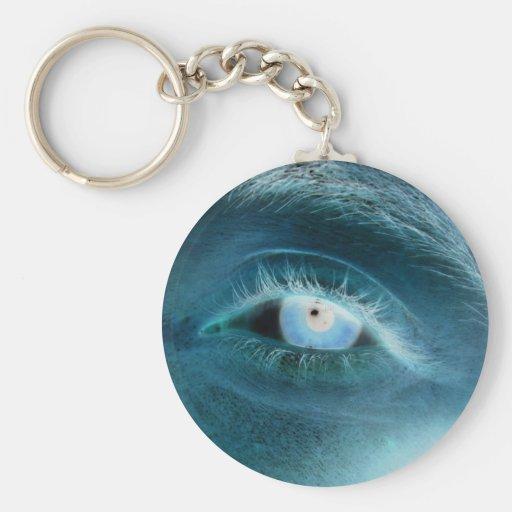 Blue eye print key chains