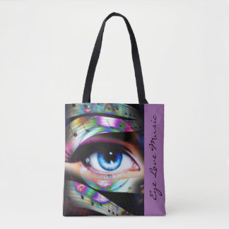 Blue Eye With Music Notes Tote Bag