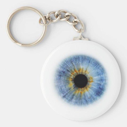 Blue Eyeball Basic Round Button Key Ring