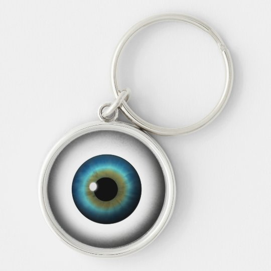Blue Eyeball Cool Weird Eye Premium Round Keychain