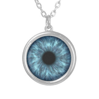 Blue Eyeball Dragon Eye Silver Plated Necklace