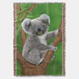 Blue-Eyed Baby Koala Bear Throw Blanket