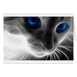 Blue Eyed Black and White Kitty Cat Card
