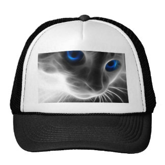 Blue Eyed Black and White Kitty Cat Trucker Hats