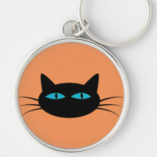 Blue-Eyed Black Cat Silver-Colored Round Key Ring