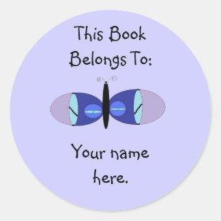 Blue Eyed Butterfly, Book Plates Round Sticker
