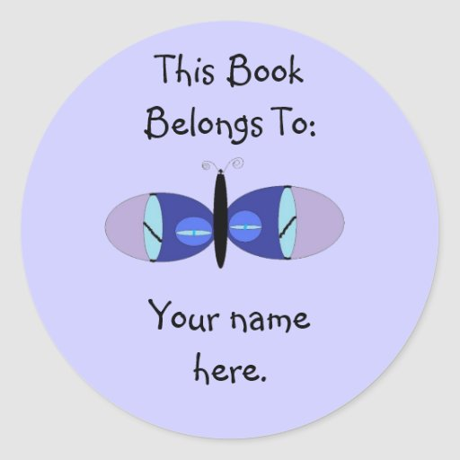 Blue Eyed Butterfly, Book Plates Stickers