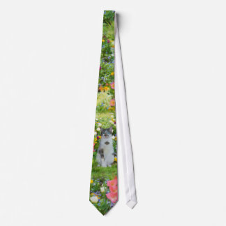 Blue Eyed Cat Among The Flowers Tie