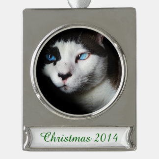 Blue-Eyed Cat Silver Plated Banner Ornament