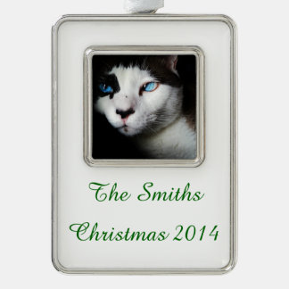 Blue-Eyed Cat Silver Plated Framed Ornament