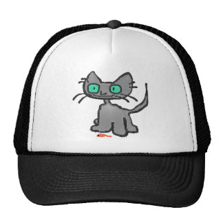 Blue Eyed Cat With His Mouse Toy Trucker Hat