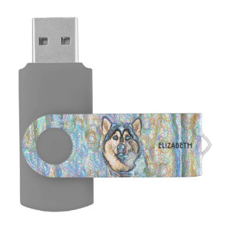 Blue Eyed Husky The Beautiful Dog Drawing Swivel USB 3.0 Flash Drive