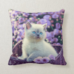 Blue Eyed Kitten Cat In Basket With Lilac Flowers Cushion