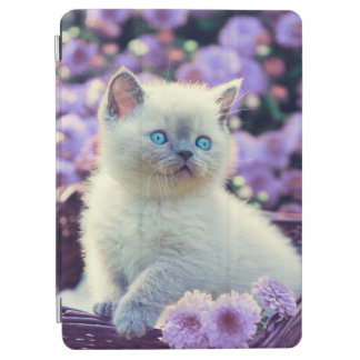 Blue Eyed Kitten In Basket With Lilac Flowers iPad Pro Cover