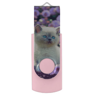 Blue Eyed Kitten In Basket With Lilac Flowers USB Flash Drive