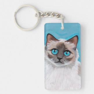 Blue Eyed Ragdoll Cat Portrait Double-Sided Rectangular Acrylic Key Ring