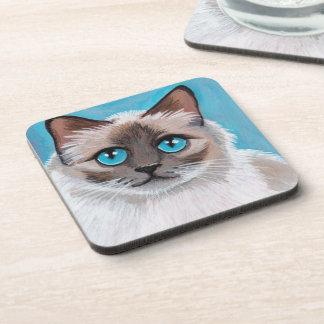 Blue Eyed Ragdoll Cat Portrait Painting Beverage Coaster