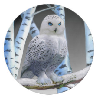 BLUE-EYED SNOW OWL PLATE