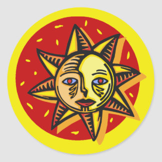 Blue Eyed Sun Classic Round Sticker