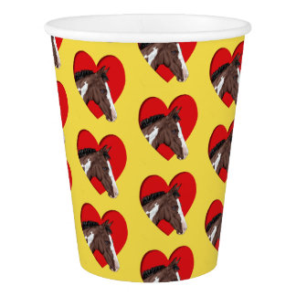 Blue Eyed Tobiano Paint Horse in Red Heart Paper Cup