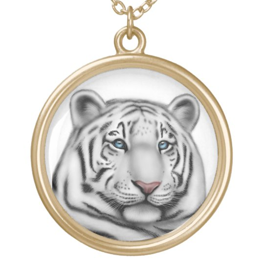 Blue Eyed White Tiger Necklace