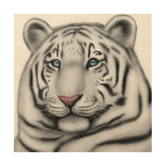 Blue Eyed White Tiger Wood Wall Art Wood Prints