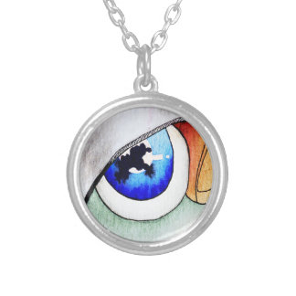 Blue eyes good luck charm round pendant necklace