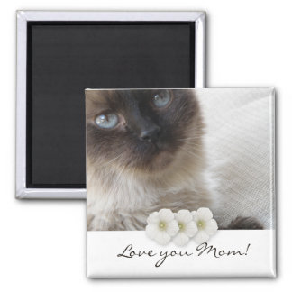 Blue Eye's Kitty, Love you Mom! Square Magnet