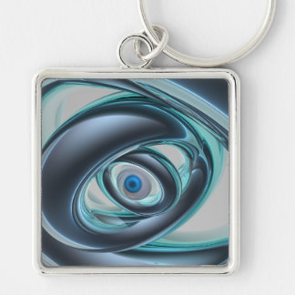 Blue Eyes of A Machine Silver-Colored Square Key Ring