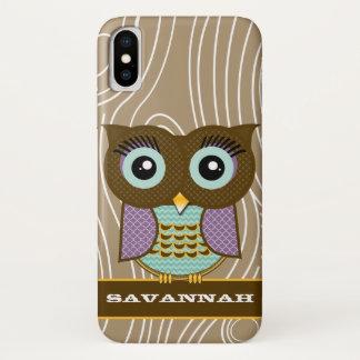 Blue Eyes Owl Wood Grain Zig Zag Choose Colors iPhone X Case