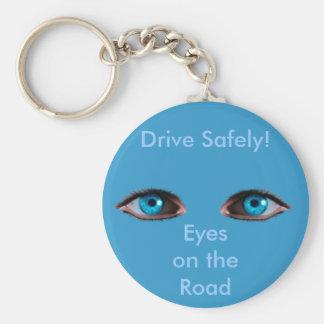 BLUE EYES Series Basic Round Button Key Ring