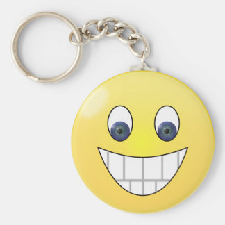 Blue eyes smile face basic round button key ring