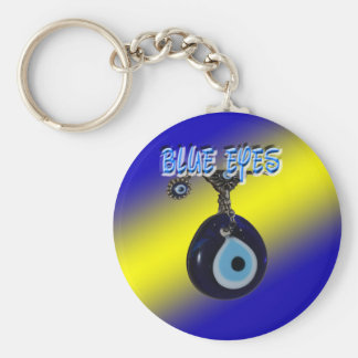 Blue Eyes With Background Basic Round Button Key Ring