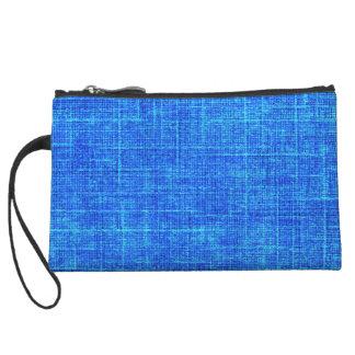 Blue Fabric Illusion Wristlet Clutch