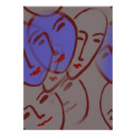 Blue Faces Abstract Poster