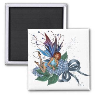 Blue Fae on Blue Flowers Design 1 Square Magnet