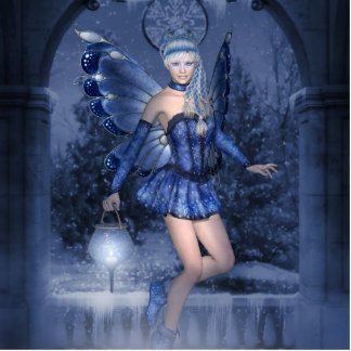 Blue fairy and lamplighter photo sculpture badge