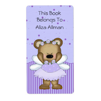 Blue Fairy Bear Bookplate Label Shipping Label