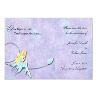 "Blue Fairy on Purple Watercolor Save the Date 3.5"" X 5"" Invitation Card"