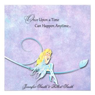 Blue Fairy on Purple Watercolor Wedding Announcement