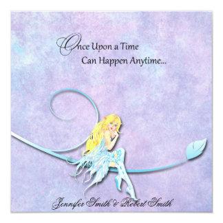 Blue Fairy on Purple Watercolor Wedding Invitation