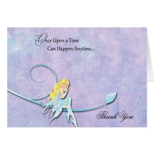Blue Fairy on Purple Watercolor Wedding Thank You Greeting Cards