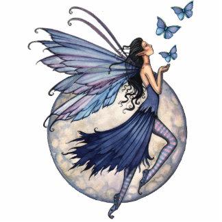 Blue Fairy with Butterflies Sculpture Ornament Standing Photo Sculpture
