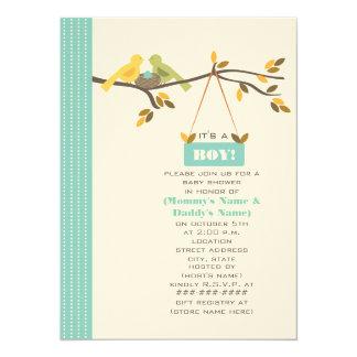 Blue Fall Baby Shower Mommy & Daddy Birds & Nest 14 Cm X 19 Cm Invitation Card