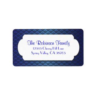 Blue Fan Pattern with White Frame Address Label